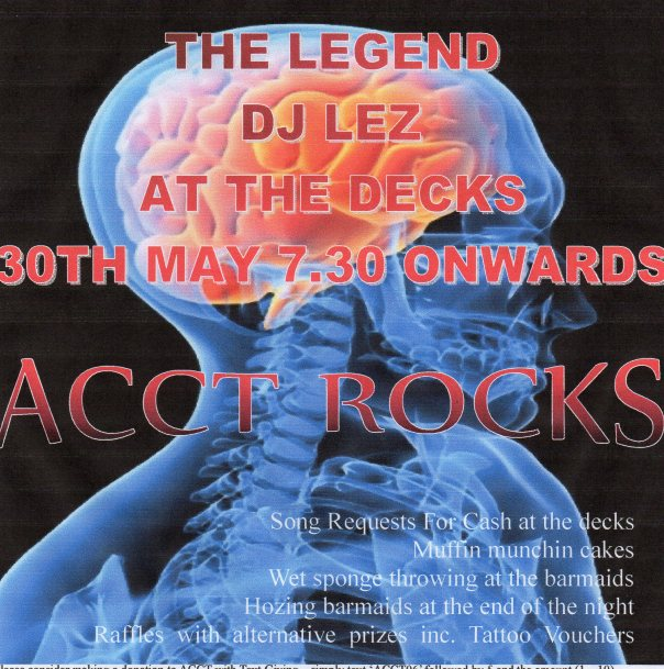 ACCT ROCKS!  Fundraiser May 30th The Sportsman Rock Bar